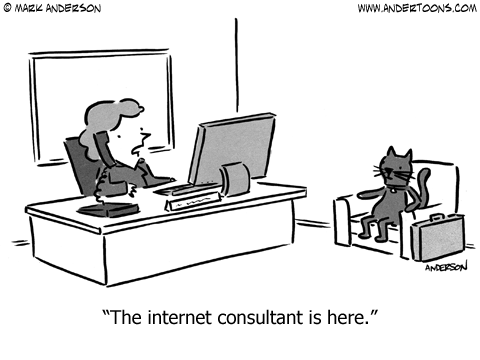 """Cat sitting in waiting room. """"The Internet consultant is here."""""""