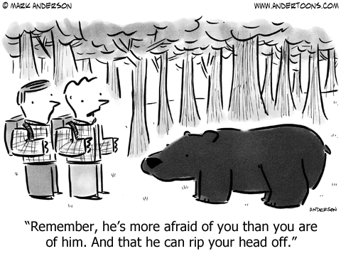 Hikers confront a bear. Remember, he's more afraid of you than you are of him. And that he can rip your head off.