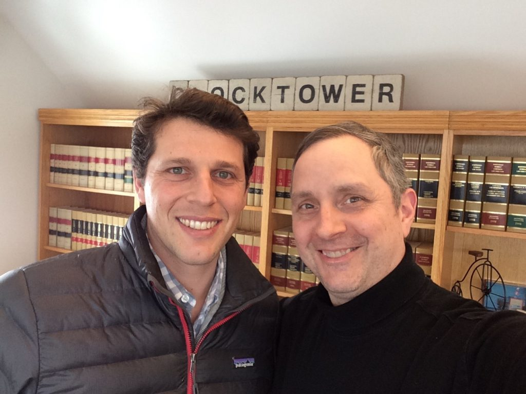 Selfie of Mathias Rosenfeld (of Villageworks) and Erik Heels (of Clocktower Law) in West Acton.