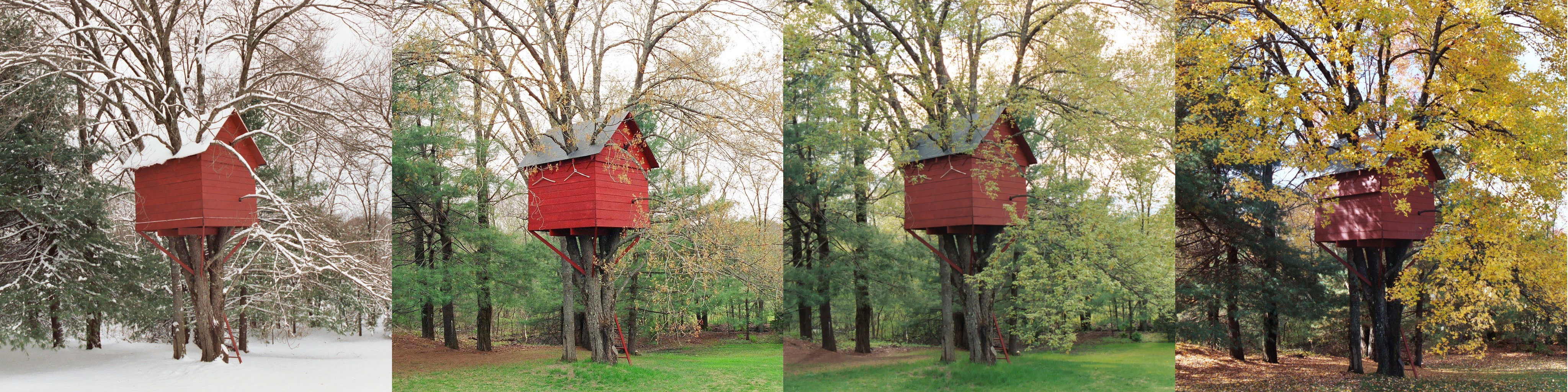 In the summer of 2003 and 2004, the perfect treehouse took shape in a four-stem maple in the back yard of a house in Acton, MA. The treehouse was built by Erik J. Heels and his three children: Sam, Ben, and Sonja. Shown here in all four seasons: winter, spring, summer, fall.