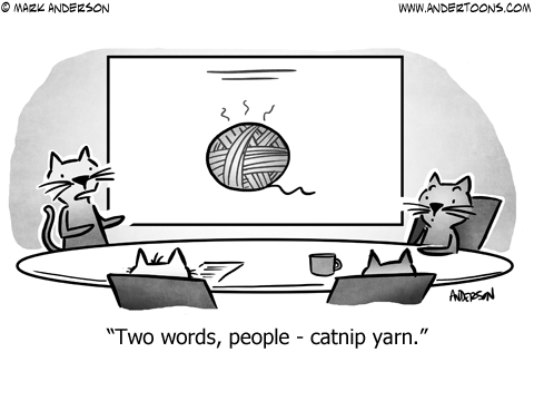 Cats in business meeting: Two words, people - catnip yarn.