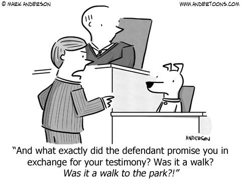 Trial lawyer to dog witness: And what exactly did the defendant promise you in exchange for your testimony? Was it a walk? Was it a walk to the park?!